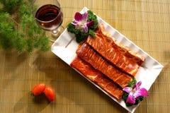 Disco y vino de la carne roja Imagen de archivo libre de regalías