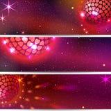 Discobal met Harten Drie VectorAchtergronden Stock Afbeelding
