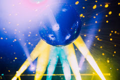 Discoball close up. Disco ball close up in a colorful stage lights as a show element Royalty Free Stock Photo