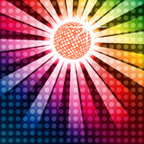 Discoball with funky rainbow background Royalty Free Stock Photo