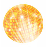 Discoball. Illustration of orange-gold and red discoball with rays Stock Photo