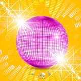 Discoball with music waves Stock Photos