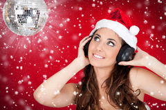 Discoball, snow, and santa girl Royalty Free Stock Image