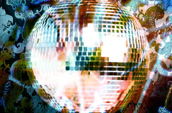 Discoball and wallpaper Stock Image