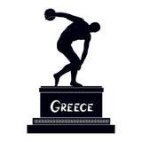 Discobolus famoso da silhueta da estátua do grego Símbolo do monumento de Grécia antigo ilustração stock