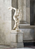 The Discobolus of Myron Discus Thrower. Is a marble copy of the original bronze Greek sculpture, located in the Vatican Museum, Rome, Italy Royalty Free Stock Image