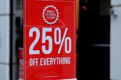 25% discocut Verkauf am nur Speicher Lizenzfreies Stockfoto