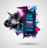 Discodans Art Design Poster met Abstracte vormen en dalingen van kleuren Stock Foto