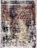 Discolored antique document. An old, weathered and discolored antique document with a floral silhouette Royalty Free Stock Image