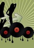 Discomädchen und Vinylsätze Stockbilder