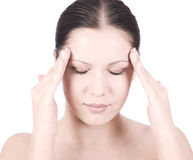 Discomfort. Young beauty woman with headache holding hands on forehead Royalty Free Stock Images