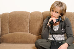 Disconcerted the woman after dialogue by phone Stock Images