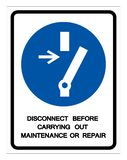 Disconnect Before Carrying Out Maintenance Or Repair Symbol Sign ,Vector Illustration, Isolate On White Background Label .EPS10 vector illustration