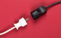 Disconnected vit propp för kabel för europeisk makt med kontaktdonet royaltyfri bild