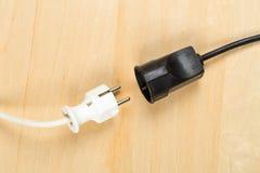 Disconnected vit propp för kabel för europeisk makt med svart connecto royaltyfria foton