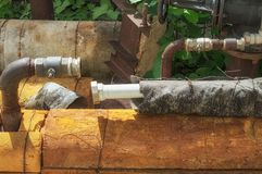 Disconnected water supply pipes. Cut off for non-payment from a residential house water supply.  royalty free stock photography