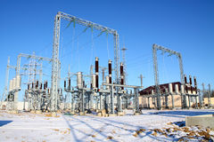 Disconnecting switch on high-voltage substation Royalty Free Stock Photography