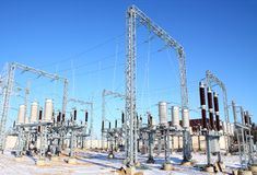 Disconnecting switch on high-voltage substation Stock Photography