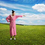 Discontented housewife screaming. And pointing at something. photo at outdoor royalty free stock photo
