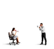 Discontented man and angry woman Stock Images