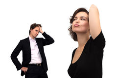 Discontented woman and tired man. Isolated on white stock photography