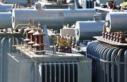 Discontinued voltage transformers in the highly polluting materi Royalty Free Stock Images