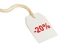 Disconto 20% da etiqueta Fotos de Stock Royalty Free