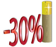 disconto de 30% Fotografia de Stock Royalty Free