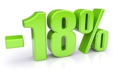 disconto de 18% em um branco Fotografia de Stock