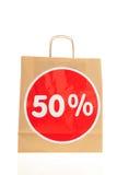Disconto de papel do saco de compras Imagens de Stock