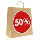 Disconto de papel do saco de compras Foto de Stock Royalty Free