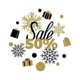 Disconto do inverno da venda -50 ilustração do vetor da venda Imagens de Stock
