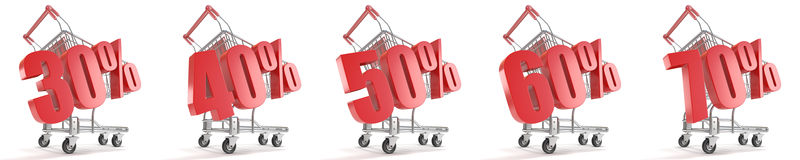 30%, 40%, 50%, 60%, disconto dos por cento de 70% na frente do carrinho de compras Conceito da venda - mão com lupa 3d Imagens de Stock Royalty Free