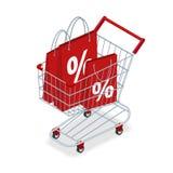 DISCONTO ou carrinho de compras da cesta do alimento com presentes e discontos Trole da compra com a pilha grande do presente env Imagem de Stock