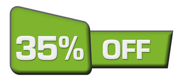 Disconto 35 por cento fora da barra verde do triângulo Foto de Stock Royalty Free