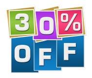 Disconto 30 por cento fora das listras coloridas dos quadrados ilustração stock