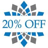 Disconto 20 por cento fora de Grey Circular azul Foto de Stock Royalty Free