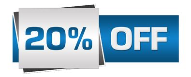 Disconto 20 por cento fora de Grey Horizontal azul Imagem de Stock Royalty Free
