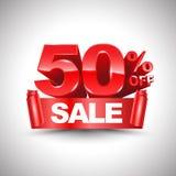 disconto vermelho brilhante do vetor 3d 50 por cento fora Imagem de Stock Royalty Free