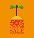 Discontos da venda 50 do verão com ilha de palma Fotografia de Stock Royalty Free