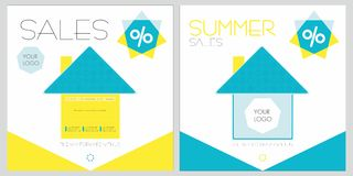 Discontos do verão com casas Imagens de Stock