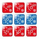 Discontos em bens como uma porcentagem de discontos do inverno das vendas Foto de Stock