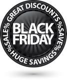 Discontos enormes pretos ícone de sexta-feira, ilustração do vetor Fotos de Stock