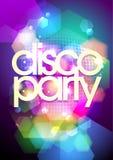 Discoparteidesign auf einem bokeh Hintergrund. Lizenzfreie Stockfotografie