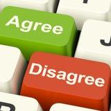 Discorde e concorde chaves para a votação ou a votação em linha Imagem de Stock