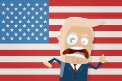 Discorso di Donald Trump con la bandiera americana Immagini Stock