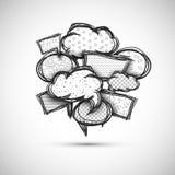 Discorso disegnato a mano della bolla Immagine Stock