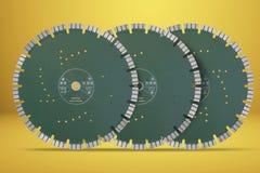 Discos con los diamantes - discos del corte del diamante para el aislante concreto Fotos de archivo libres de regalías