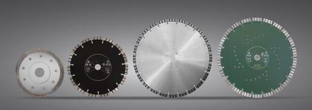 Discos con los diamantes - discos del corte del diamante para el aislante concreto Imagenes de archivo