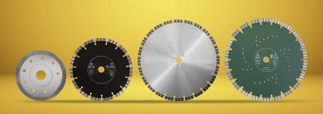 Discos con los diamantes - discos del corte del diamante para el aislante concreto Foto de archivo libre de regalías